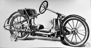 Le premier prototype construit par la Militaire Autocycle Company est un monocylindre de 480cm3 avec un volant de direction.