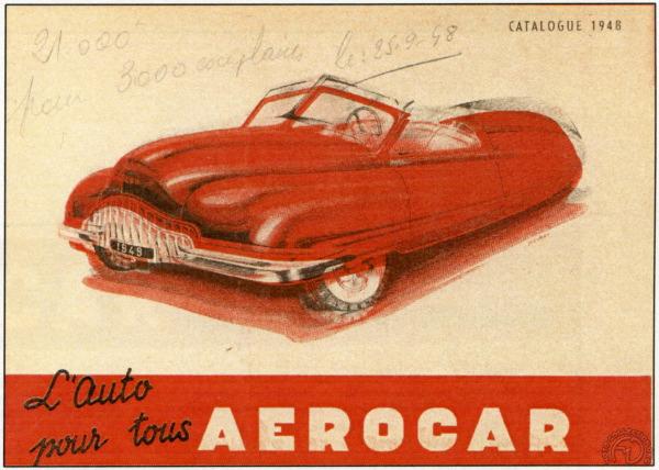 L'Aerocar étudié en 1948-49, cyclecar de 110 kg avec un Ydral 125 cm3 , promettait 50 km/h.