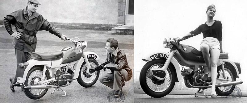 La version Arrow découvre sa mécanique, mais elle conserve sa chaîne sous carter complet (Non, je n'ai pas dit étanche !) et comme pour la Leader, séance photo obligatoire pour cette première mouture de 1959.