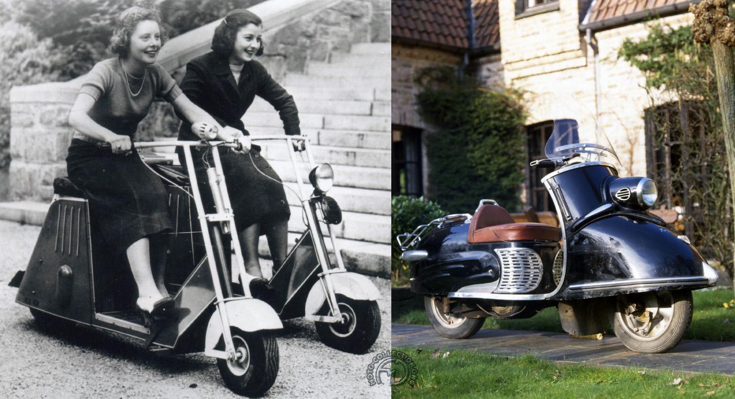 Du scooter-patinette des débuts américains, avec ces Cushman Autoglide de1937, à la sophistication allemande illustrée par le Bastert tout aluminium dessiné par Louis Lepoix en 1951.
