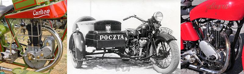 Carlton à moteur Anzani de 1920 / CWS-Sokol 1000 cm3 M111-1933 / Galbusera-250 moteur Rude 4 soupapes 1934.
