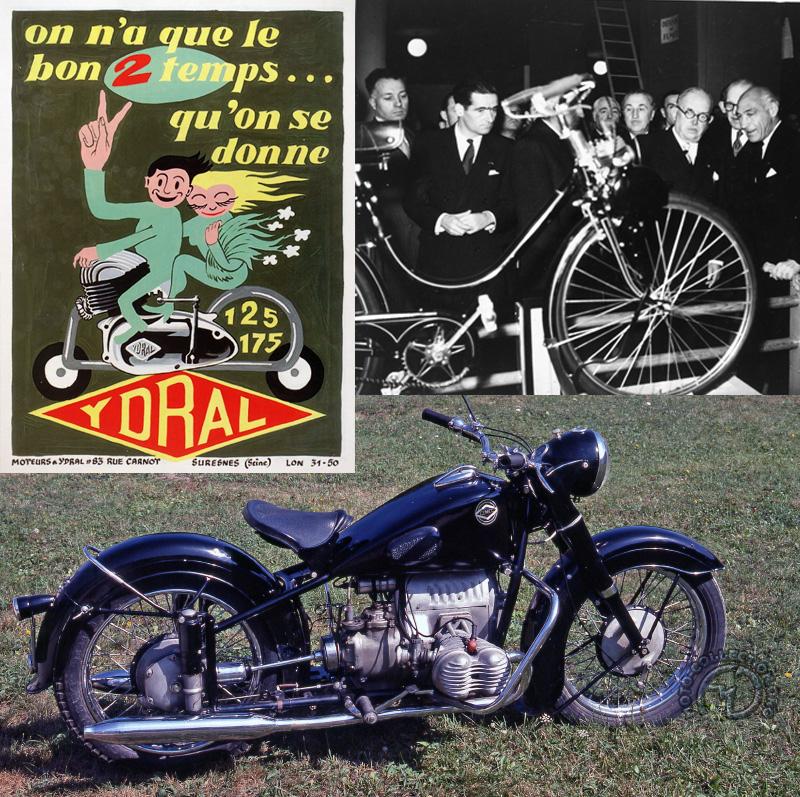 Cames 750 culture escorte du président Coty / Présentation du Vélosolex au salon 1946 / Affiche des moteurs Ydral.