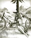 """1951 : Publicité belge pour la Mobylette Kaptein vendue sous son nom par l'importateur pour le Benelux, mais savez-vous que c'est à Wilhem Kaptein ami de longue date du cofondateur de Motobécane Charles Benoît que nous devons la Mobylette et son nom. Notre fierté nationale a en effet été conçue en 1949 suite à la demande du """"Plat Pays"""" d'un vélo assisté d'un moteur et le nom «Mobylette dérivé de MOteur et BIcyLETTE» a été concocté chez Kaptein par un certain Jan Verbruggen."""