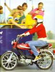1979 : En France les filles sont absentes des présentations des modèles sport, mais pas en Allemagne ou c'est une demoiselle qui fait la promo de ce TM4 à moteur Franco Morini conçu pour ce marché.