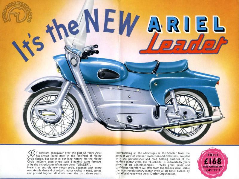 Une moto parfaite pour l'usage quotidien avec un équipement de grand luxe. Sur ce tout premier catalogue de 1958, la Leader est encore dépourvue de son pare-choc arrière, développé comme l'habillage du guidon par Sammy Miller
