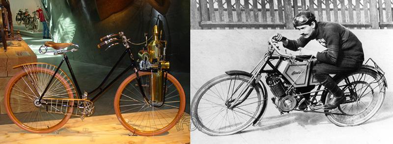 Une reconstruction de la Geneva de 1896 et une vue d'époque de l'Excelsior de 1903.