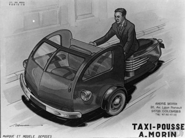 Le projet de 125 Taxi-Pousse étudié en 1950-51 restera sans suite, mais André Morin réalisera plus tard un triporteur à moteur 175 AMC pour une commande spéciale. (Doc. F. Tison)