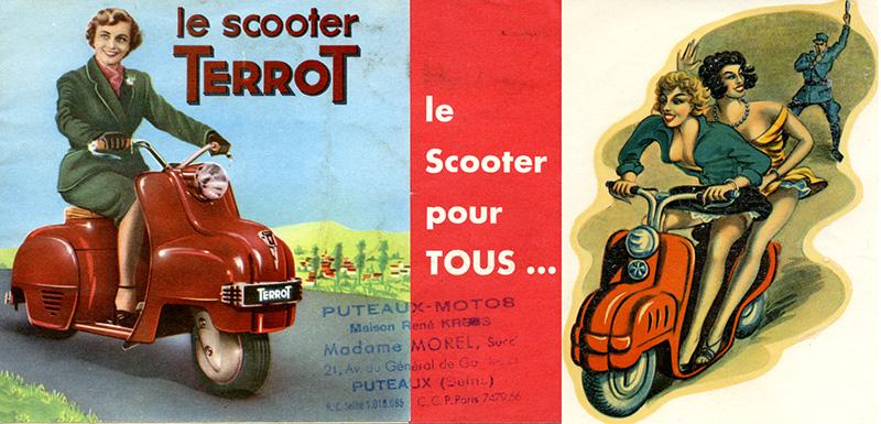 Il faut avouer que la pin up vantant les mérites du scooter Terrot en 1950 était moins affriolante. Sur certaines décalcomanies d'époque le scooter Terrot était mieux mis en valeur.