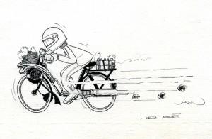 Aussi saugrenu que cela puisse paraître le Solex se transformera parfois en moto de course avec d'effarantes et très efficaces préparations techniques. (Dessin Helbé)