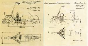 À  gauche le plan de la première version de 1920 à avec le flat twin en long,. À droite la version de 1921.[Archives Libor Marčik]