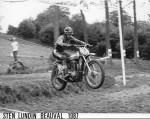 Sten en 1987 lors d'une des réunions pour motos de coss d'antan à Beauval-en-Caux.