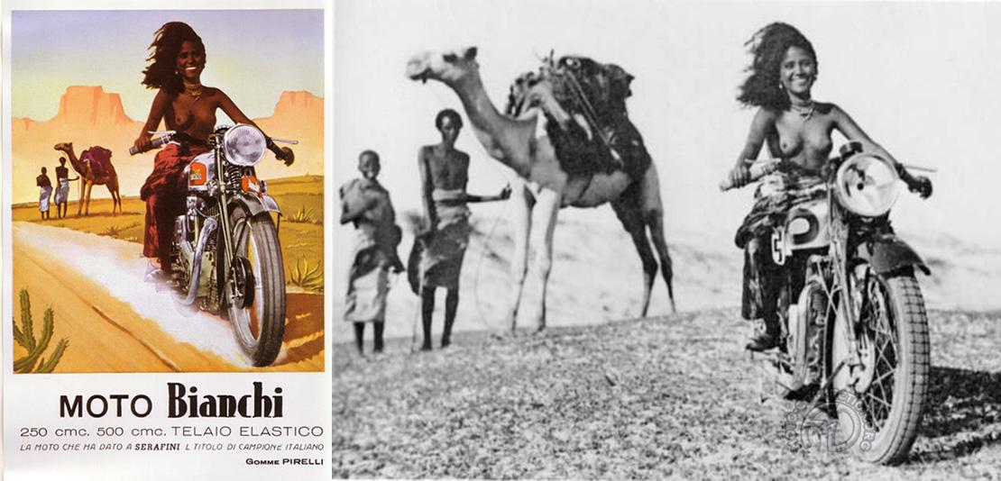 Le plagieur, plagié : À gauche la publicité créée par Boccasile pour Bianchi, à droite la photo originale utilisée par Triumph en 1933 pour vanter les mérites de la Silent Scout.