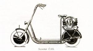 Le premier prototype de 1920 avec son moteur sur le porte-bagages est très inspiré par le Skootamota britannique. [Archives Libor Marčik]