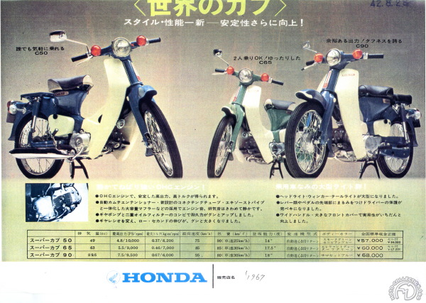 La gamme 1967 pour le Japon.