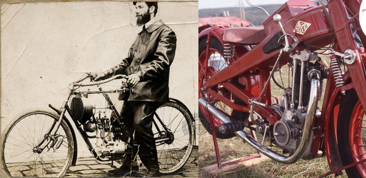 L'étonnante Virtuelle de 1908 et une CP Roléo à bloc moteur Staub 350 cm3 de 1929.