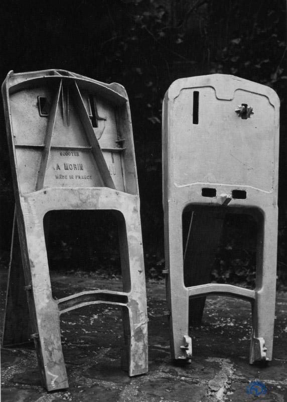 Le châssis en magnésium et, à droite, la superbe fourche monobras en fonderie d'alliage léger des 1ere et 2e séries. Si vous connaissez le Gilera 125 CX de 1991, la ressemblance est frappante !   Documents Frédéric Tison