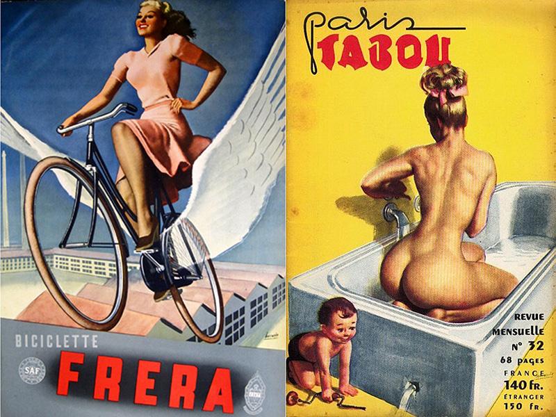 Apparemment la seule autre publicité conçue par Boccasile pour le deux roues fut cette affiche pour Frera en 1940. Ses créatures (sans moto) illustraient aussi souvent en France les couvertures du journal Tabou ici consacré au bain.