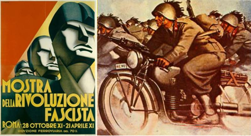 Mieux vaut oublier les autres activités de Boccasile consacrées à la gloire de l'extrême droite… mais sur Moto Guzzi quand même.
