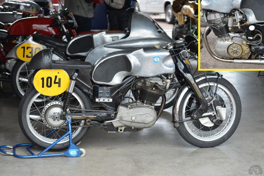 Cette autre  Sportmax du musée d'Hockenheim sur laquelle courrait en 1955  l'écossais Glen Henderson a reçu par la suite un frein avant de Norton et une selle et dosseret modifiés.
