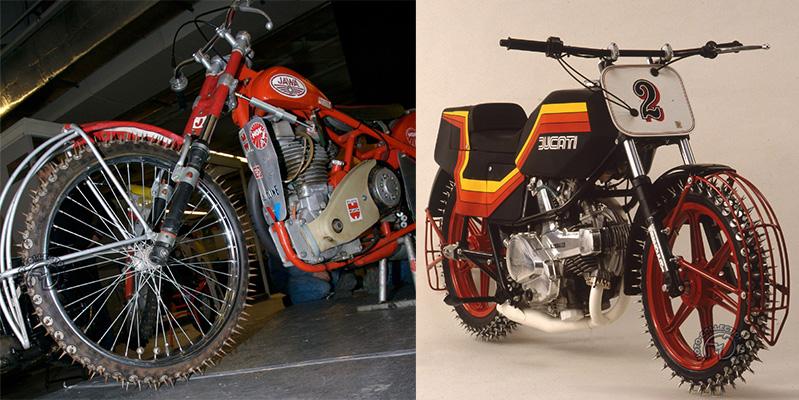 Une vraie moto d'Ice-race, la Jawa 500type de 1962, et un exercice de salon sur base de Ducati 500 Pantah en 1982.