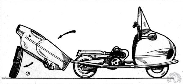 Protectrice et pratique la coque arrière de la version de 1945 se soulève pour donner un libre accès à la mécanique.