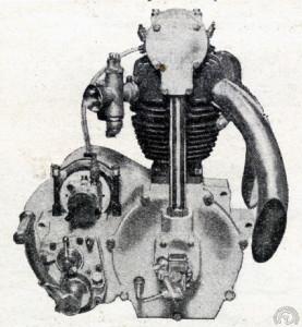 Autre nouveauté du salon de Londres de 1928, ce très (trop ?) moderne monocylindre à bloc moteur et trois soupapes commandées par simple ACT entraîné par arbre et couples coniques : deux soupapes à l'admission pour un seul carburateur, mais une à l'échappement pour deux sorties.