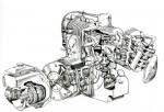 Le bloc moteur-boîte est très compact, mais les deux paires de cylindres superposées un centre de gravité exagérément haut.