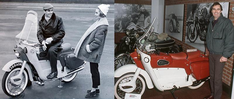 La Leder de pré-série avec Bob Trigg en 1958 et les mêmes en 1985 au musée National de Birmingham