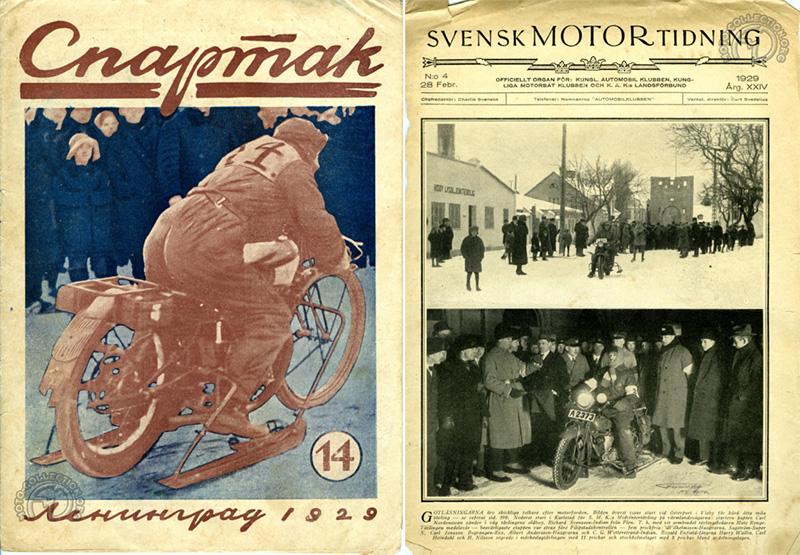 Côte à côte, un journal de moto russe de 1929 et un journal suédois de la même année avec en couverture une Indian pourvue de skis.