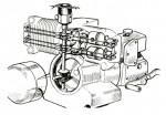 Allumage de type automobile avec le delco en bout de l'arbre à cames vertical devant le bloc moteur.