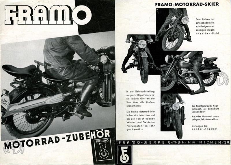 Des skis, oui, mais pas que ! Ceux proposés par l'accessoiriste allemand Framo en 1930 se replie vers l'avant pour servir de pare-jambes.