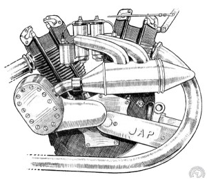Détail du 1000 cm3  JAP à compresseur monté en 1926 sur la moto de Claude Temple. Le compresseur type Roots alimente les deux carbus via une chambre de tranquilisation de 2 litres.