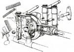Transmission par arbre et couples coniques et suspensions avant et arrière télescopiques à doubles éléments télescopiques contenant chacun trois ressorts