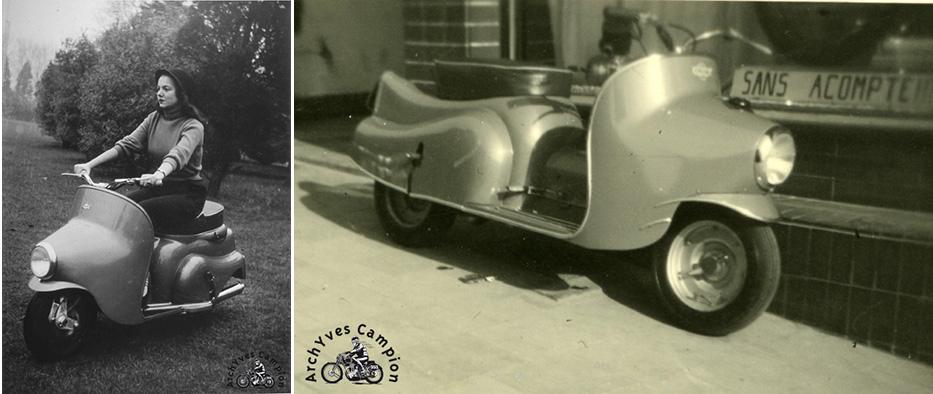L'Aldimi Prince de Liège lors de sa présentation officielle et, à droite, le prototype avec son réservoir d'essence dans le garde-boue avant.