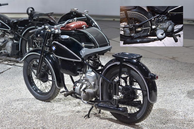 Le très moderne prototype R 10 de 1947. La suspension est télescopique avec ressort unique entre les deux bras de fourche. Le boitier sous le réservoir contient la batterie et la trousse à outils. Le moteur est un flat twin deux temps avec sa boîte à 3 rapports au dessus du carter moteur et au dessus encore le carburateur sous carter. Le volant magnétique est en bout de vilebrequin et les repose-pieds sont devant les cylindres.