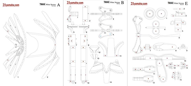 Quelques-unes des 153 pièces à découper et plier pour réaliser le T-Max en papier.