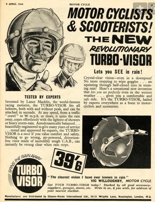 1964 : Seuls les britanniques pouvaient inventer le Turbo-Visor : protection idéale contre les pluies locales…