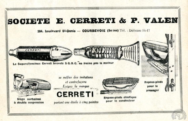 """E. Cerreti et P. Valen sont beaucoup plus connus pour leurs accessoires : silencieux """"requin"""", repose-pieds passager à suspension intégrée et tan-sad (publicité dans La Moto en 1929)"""