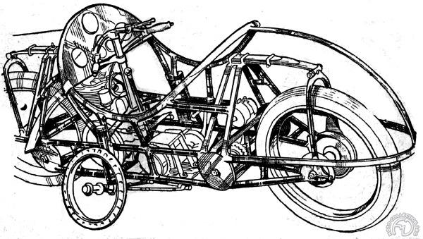 Le dessin utilisé sur le catalogue révèle un châssis particulièrement moderne et sophistiqué.