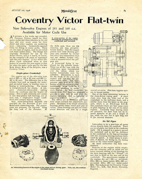 Présentation du nouveau flat twin Coventry Victor dans le numéro du 15 août 1946 de The Motor Cycle.