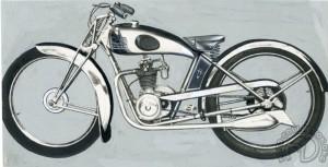Photo publicitaire détourée à la gouache de la rarissime DS Malterre de 1938 à moteur GEM