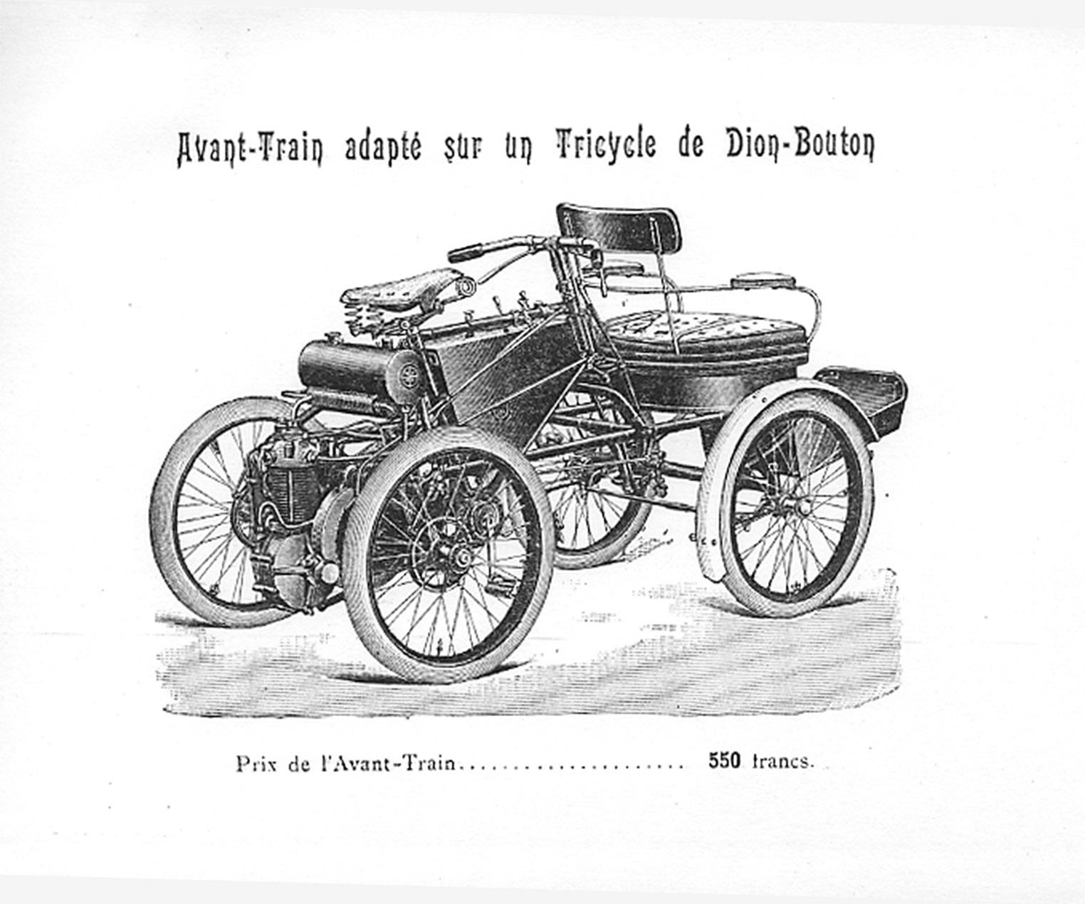 Avant train adapté sur tricycle de Dion