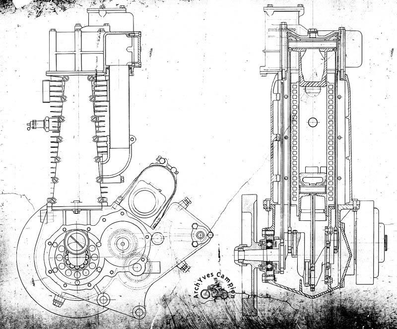 Coupe du Gillet-Laguesse à pistons opposés et refroidissement liquide de 1926