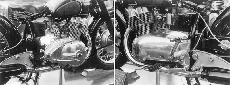 Les cylindres en alliage léger chemisés fonte et les culasses sont des fonderies séparées. Cette version de salon est mono carburateur. L'embrayage en bout de vilebrequin à droite et le volant magnétique, à gauche, élargissent notablement le moteur. Derrière le sélecteur, un petit levier terminé par une boule noire commande manuellement la boîte. (archives F-M. Dumas)