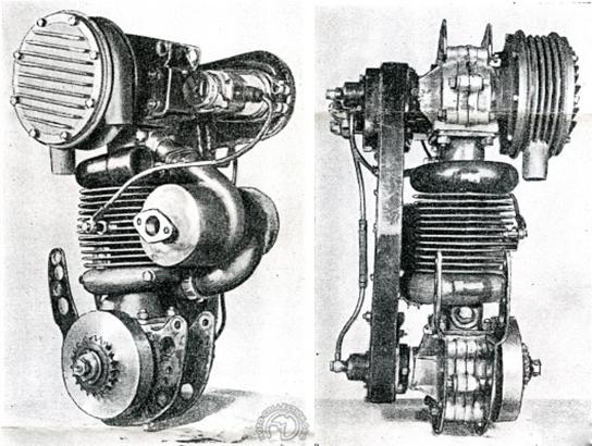 Vue du moteur avec son compresseur. La magnéto est ici entraînée par le vilebrequin supérieur.