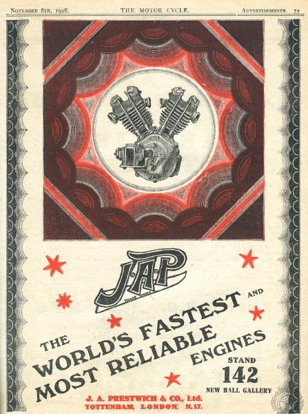 Page publicitaire pour JAP dans le numéro Spécial salon 1928 de Motor Cycle