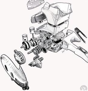 Un concept unique de bloc moteur-caisson central de cadre avec le bras oscillant articulé autour du troisième arbre de boîte. Le vilebrequin tourne sur quatre paliers, deux extérieurs et deux entre les deux bielles. La transmission primaire est confiée à des pignons à denture hélicoïdale et ce sont eux qu'on change pour l'usage avec side-car.