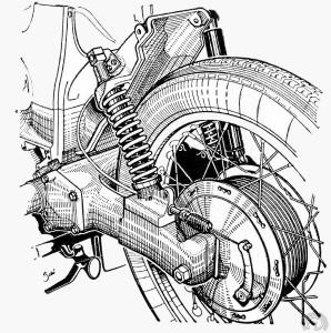 La suspension comporte un seul amortisseur hydraulique (à droite) et deux doubles ressorts concentriques. Un levier déconnecte les ressorts internes pour l'usage en solo.