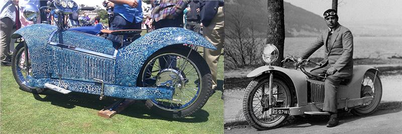 Réplique à gauche et original à droite (avec son constructeur Georges Roy) de ma Majestic à moteur 1000 Cleveland 4 cylindres.