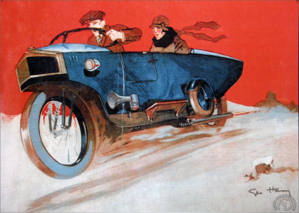 Certes plus lourds et moins élégants, les Monotrace furent une belle réussite commerciale soulignée par quelques brillants succès dans les épreuves d'endurance. Ce magnifique dessin publicitaire paru dans La Moto en 1926, est dû, bien sur, à Géo Ham.